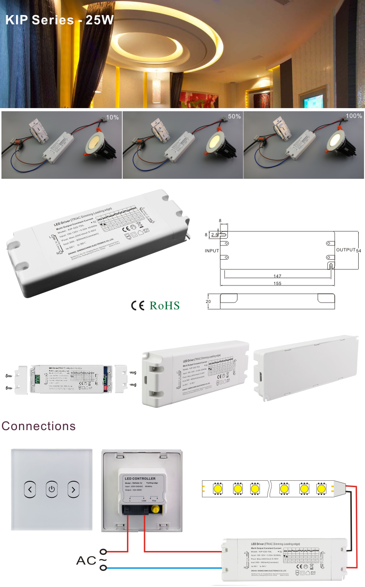 25W triac dimmable led driver be applicable hotel, school, family, and lawn light, pendant lamp modern and a floodlight
