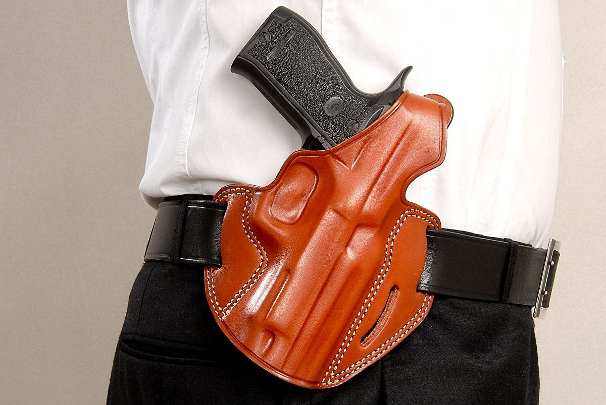 Buy LEATHER THREE SLOT PANCAKE (OWB) HOLSTER WITH THUMB
