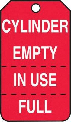 Pack of 25 LegendEMPTY CYLINDER 5.75 Length x 3.25 Width x 0.015 Thickness RP-Plastic DO NOT USE Accuform MGT202PTP Cylinder Status Tag White on Red DO NOT USE 5.75 Length x 3.25 Width x 0.015 Thickness LegendEMPTY CYLINDER