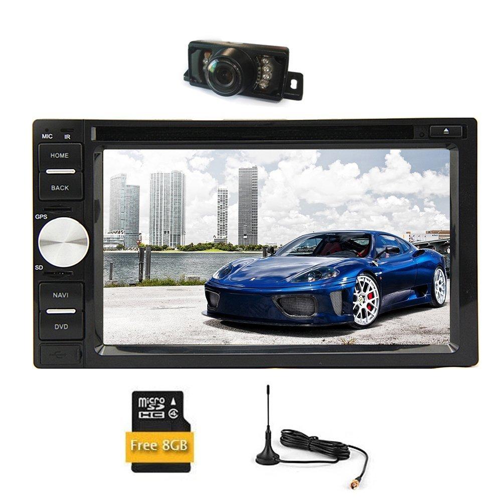 Car Stereo Bluetooth PC System Audio Car DVD Player Autoradio FM AM SD Video Radio Receiver 2 Din In Dash Head Unit USB Touch Screen 6.2 Inch Aux Remote control DVB-T ISDB-T Digital TV Reversing Cam