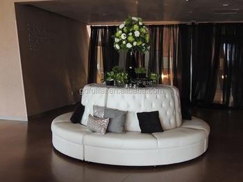 White Leather Round Banquette Sofa