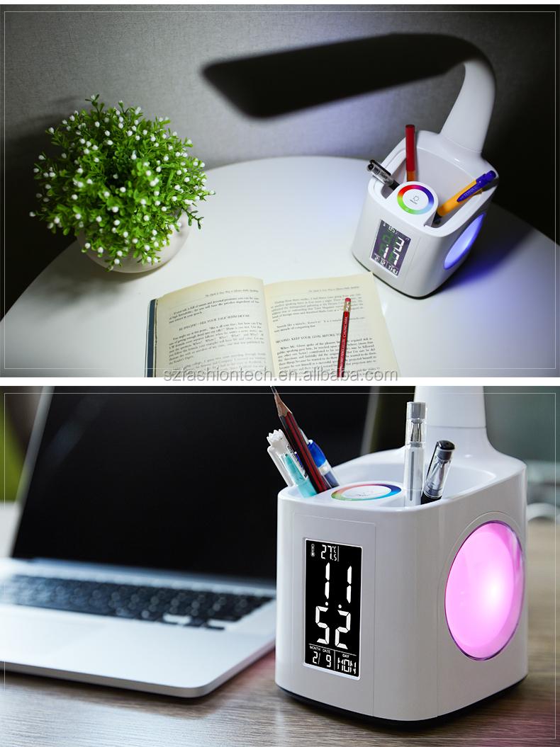 Multifunctional Bluetooth Audio Bendable Led Light Desk Lamp With Penholder Amp Lcd Alarm Clock