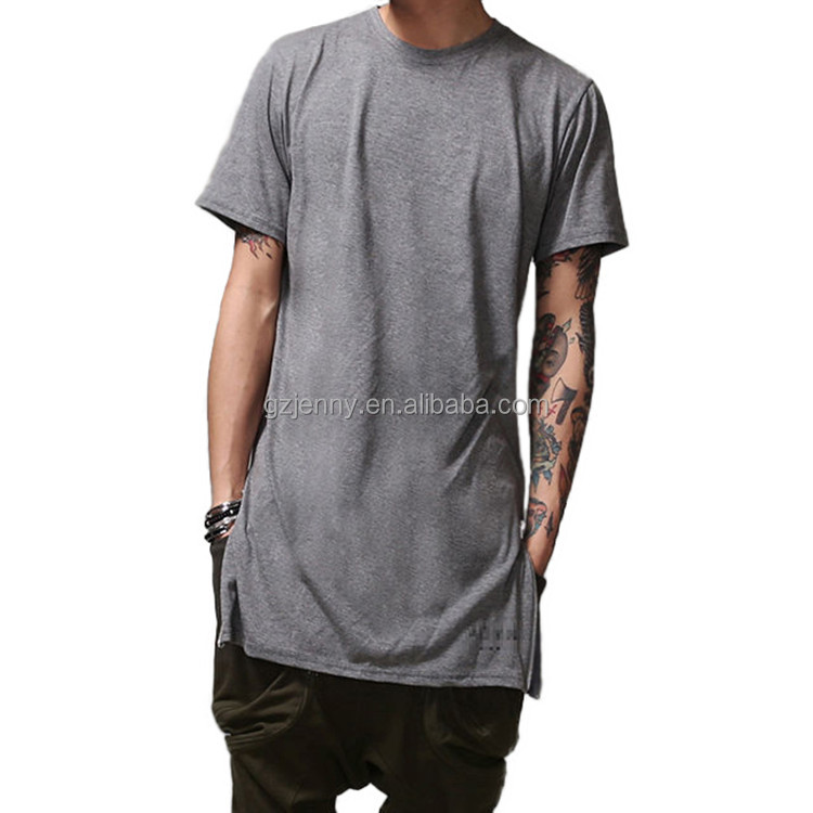 2016 Fashion Zip Oversize Tee 100% Cotton O Neck Short Sleeve Longline T Shirt Men