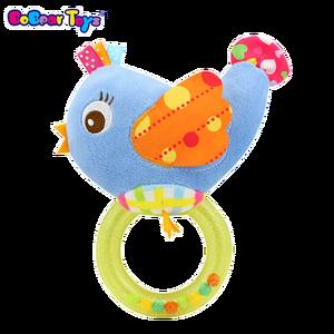 BobearToys rattle noise maker toy plastic toy rings cute infant baby mobiles stroller plush stuffed bird toy