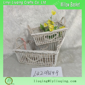 Wholesale White Woven Shallow Storage Baskets Craft Supplies Wicker
