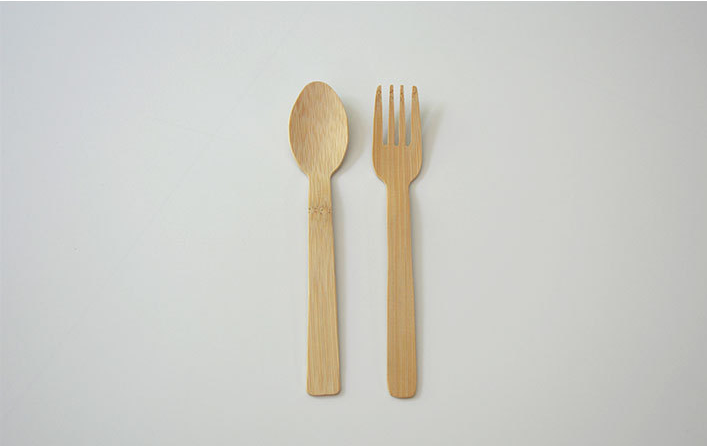 Eco-friendly disposable  travel bamboo cutlery set