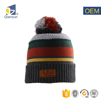 84eae4bbe7d1f custom design own embroidery slouch logo loose knitted beanie hat with pom  pom