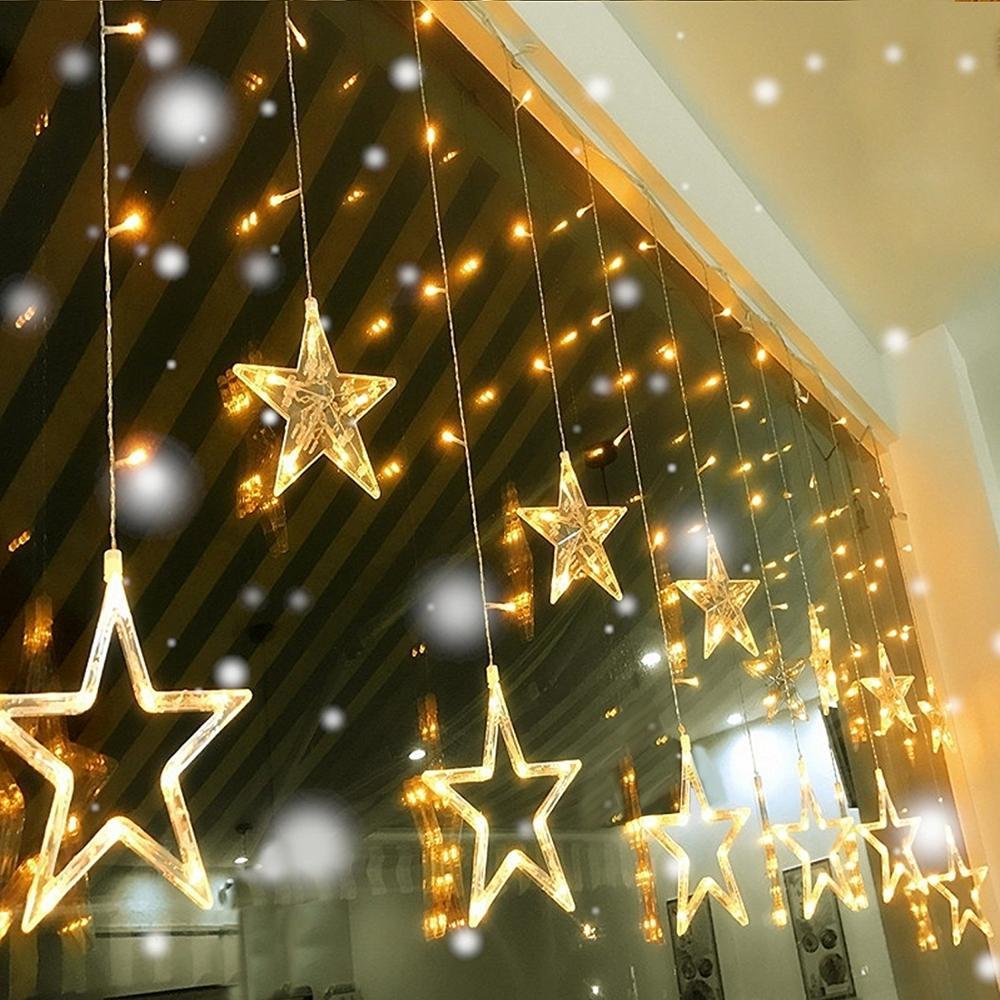c5f32abdc61 Cadena de Led estrella cortina luces cálido blanco decoración 12 estrellas  138 LEDs ventana Icicle DIY