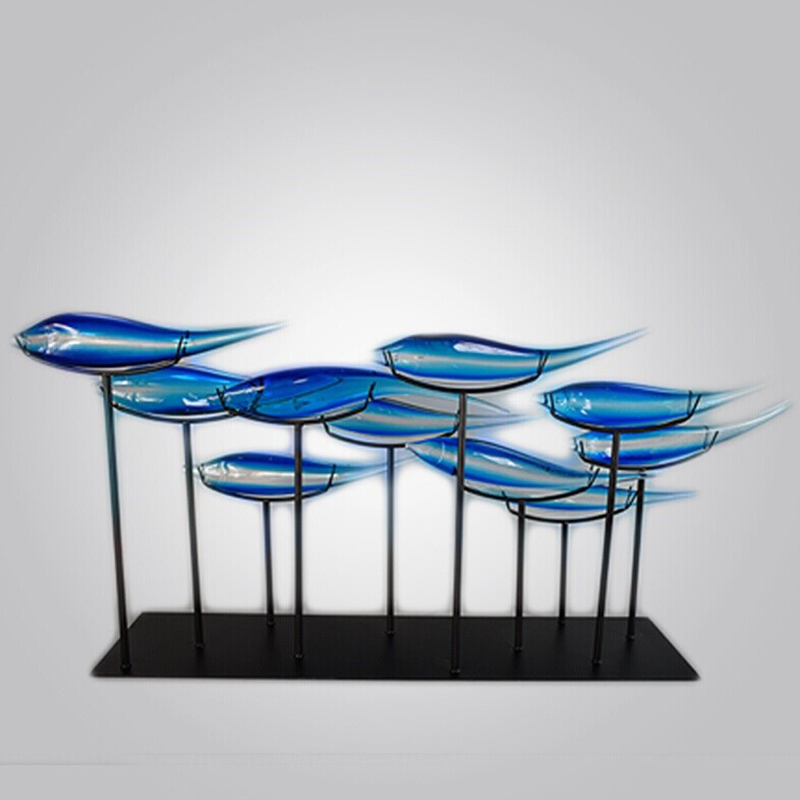 Wholesale Glass Fish Model Home Decor Modern Mental Glass Crafts For Home Decoration