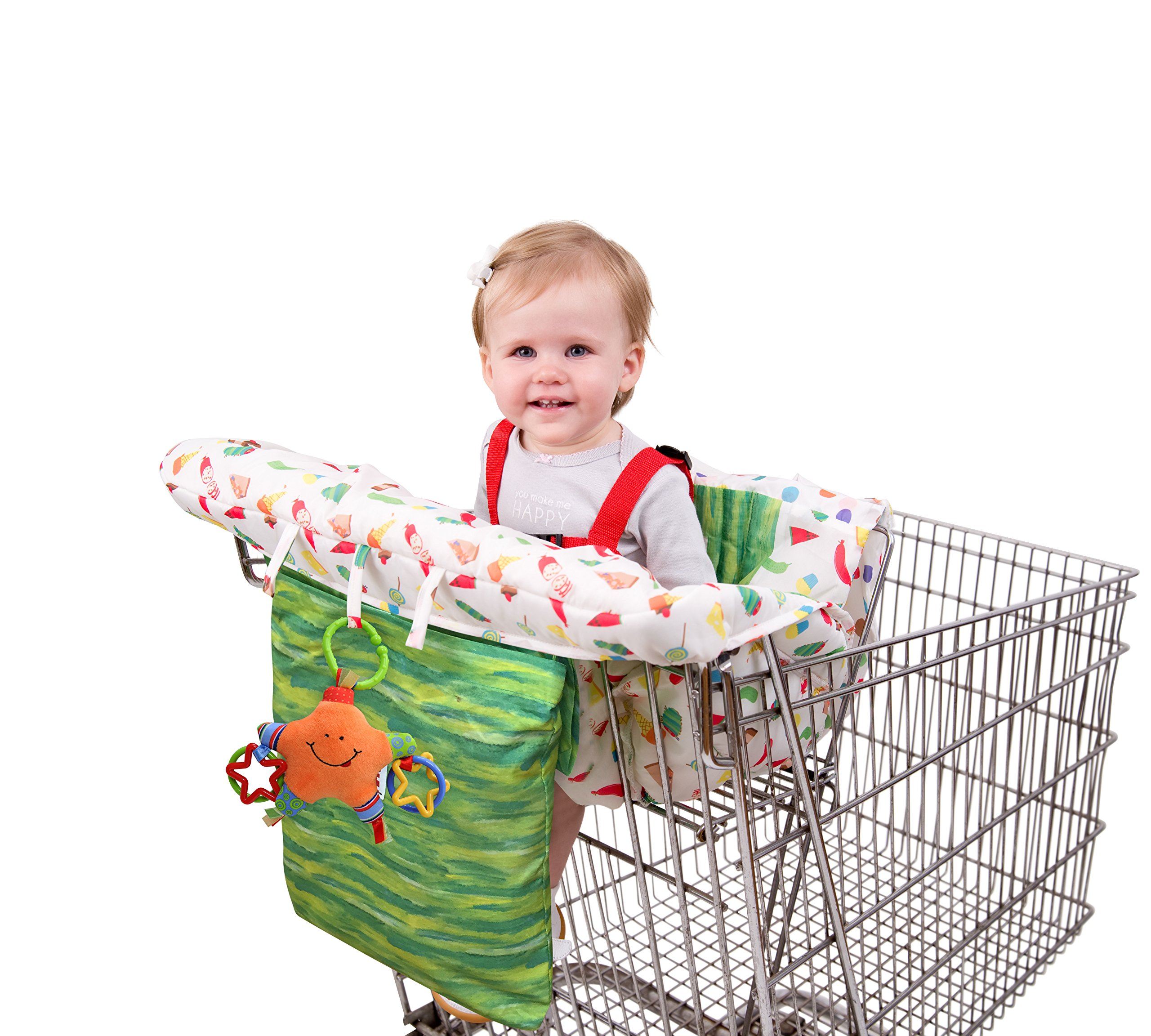 Eric Carle Shopping Cart and Hi Chair Cover, Baby Cart Cover, Grocery Shopping Cart Seat Cover, Hi Chair Cushion, Safety Harness, Loops for Toys, Compact Storage Pouch, Hungry Caterpillar