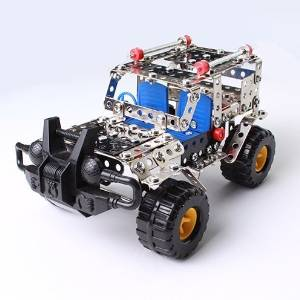 Mandydov Creative DIY Construction Building Kit Metal Jeep Vehicle Car Model Educational Toy 262pcs with tools for 8 Years & Up