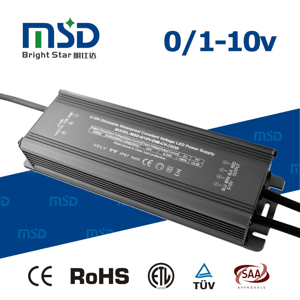 200W 24V dimmable 0-10V PWM led power supply