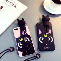 Functional Cute Stripe Cartoon 3D cartoon Black Pink Pattern Case Back Cover for iPhone 6 6S 7 Plus