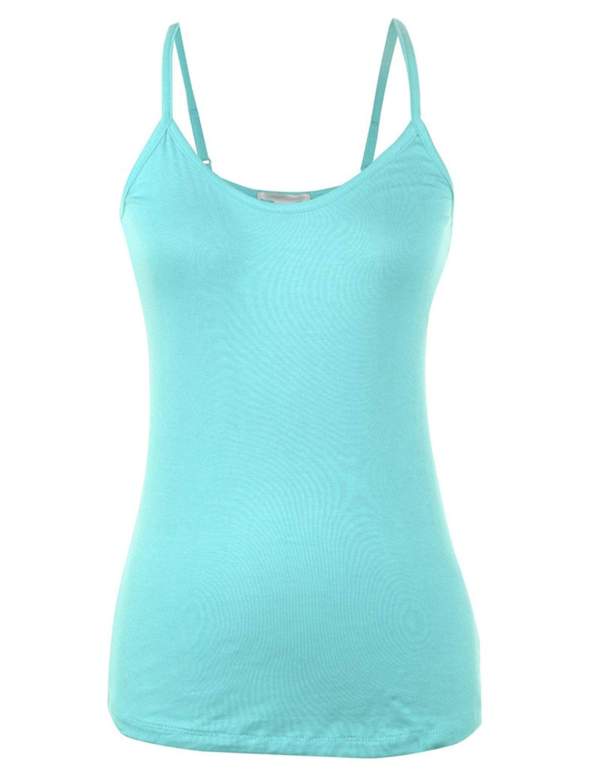 25cd250c30ab44 Get Quotations · Basic Solid Plain Base Layering Spaghetti Strap Rayon  Camisole