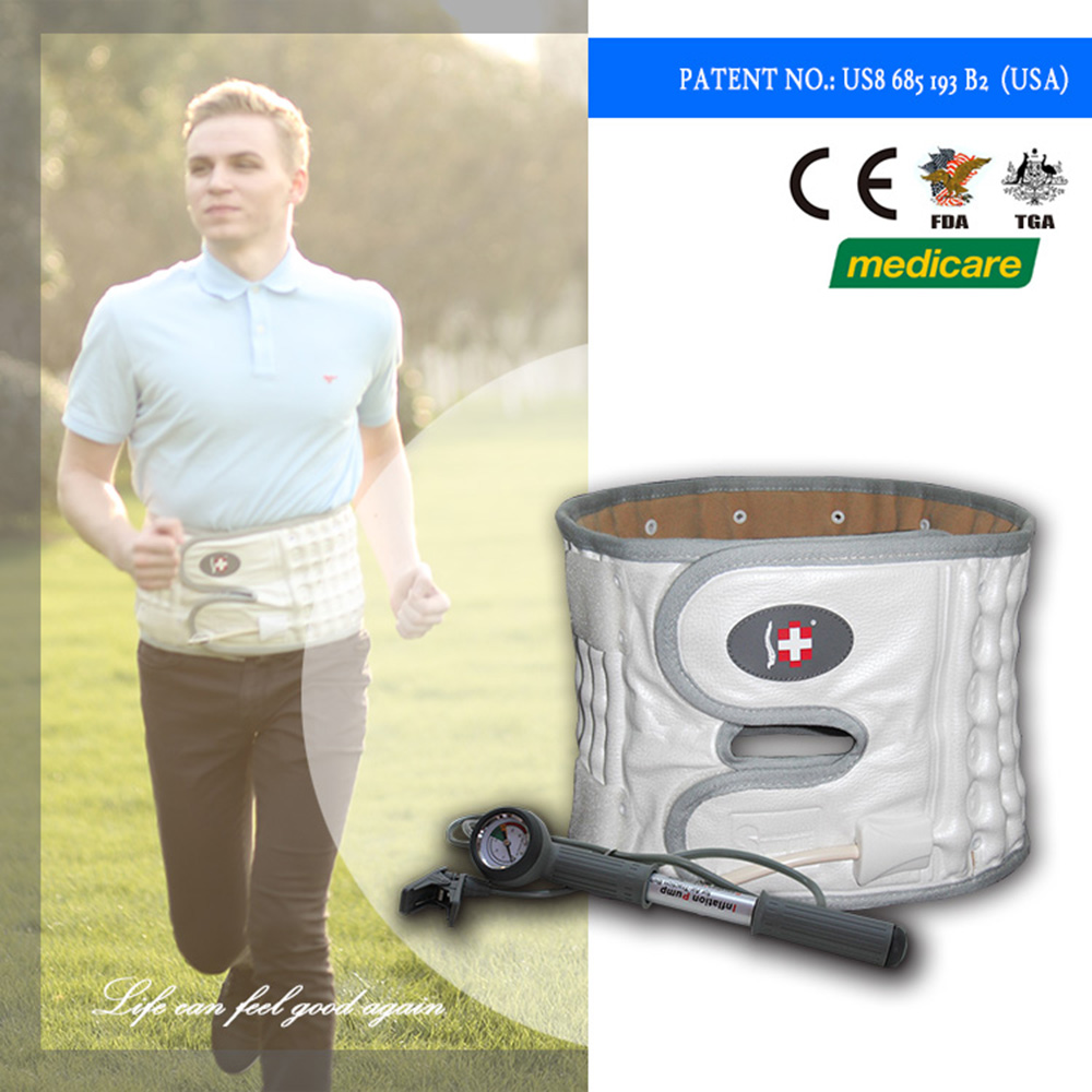 Spinal decompression inflatable lumbar support orthopaedic back support belt