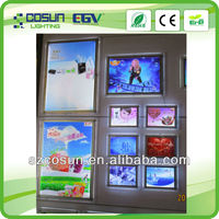 led single sided wall mounted crystal light boxes decoration