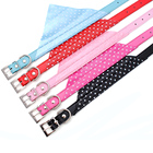 Adjustable Pet Cat Collar Dot Dog Scarf Collar PU Leather Triangle Bandanas For Dogs