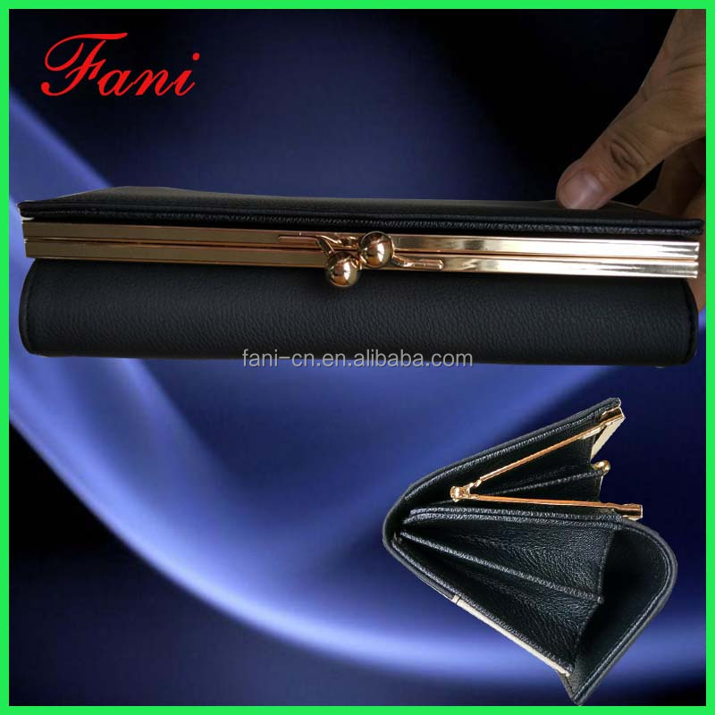 Classic black leather wallet for women genuine leather private label purse manufacture factory
