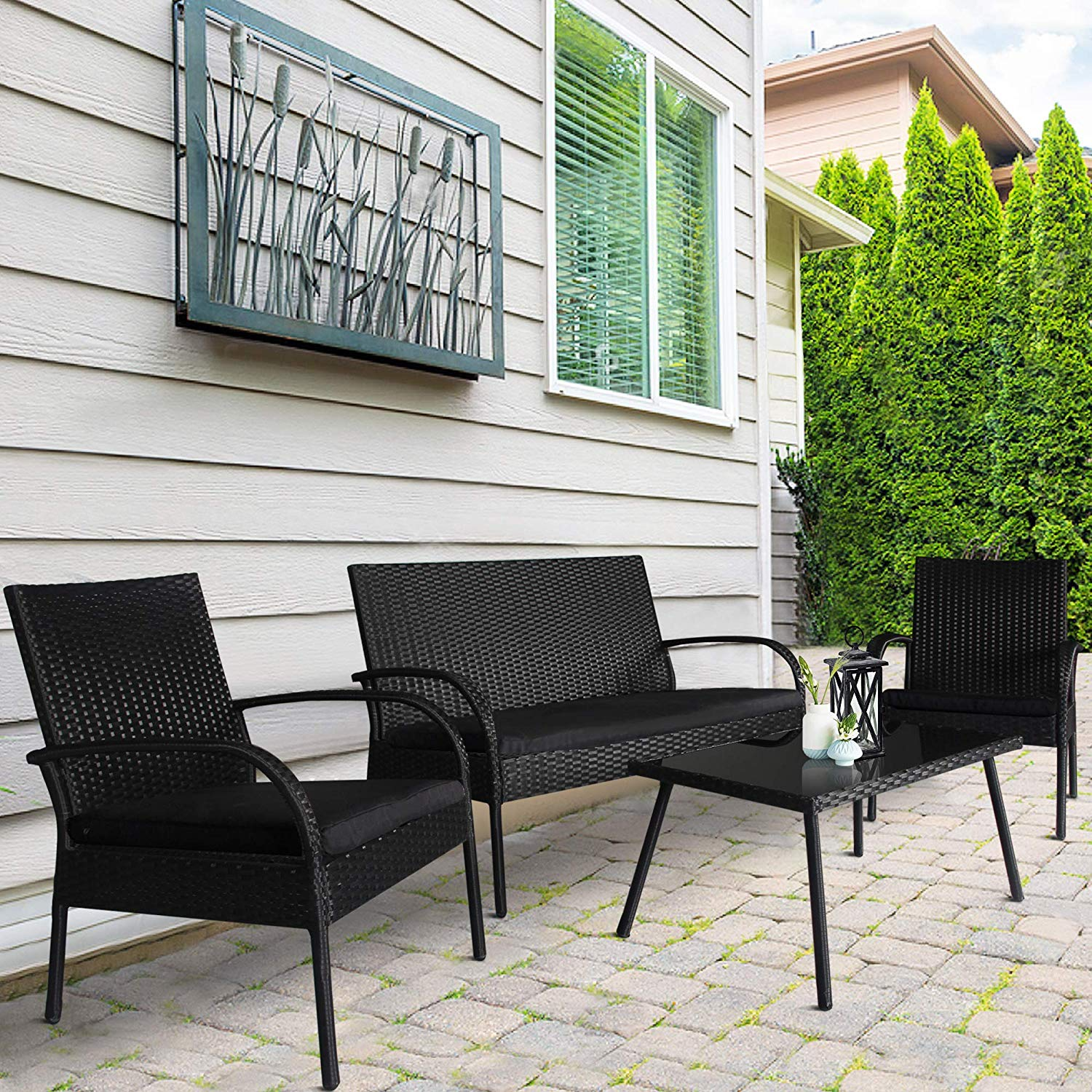 Homevibes 4 Pieces Outdoor Patio Furniture Sets Garden Conversation Set Backyard Rattan Chair Wicker Sofa Set, Black Rattan Black Cushions