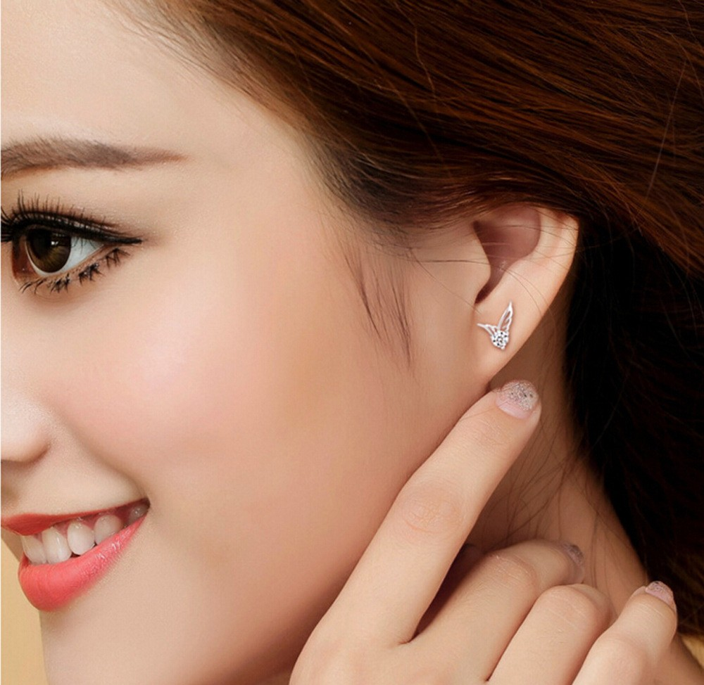 Pandora Jewelry And Latest Angel Wings Shape Beautiful Silver Earring Designs For Fashion Stud Earrings Crystal