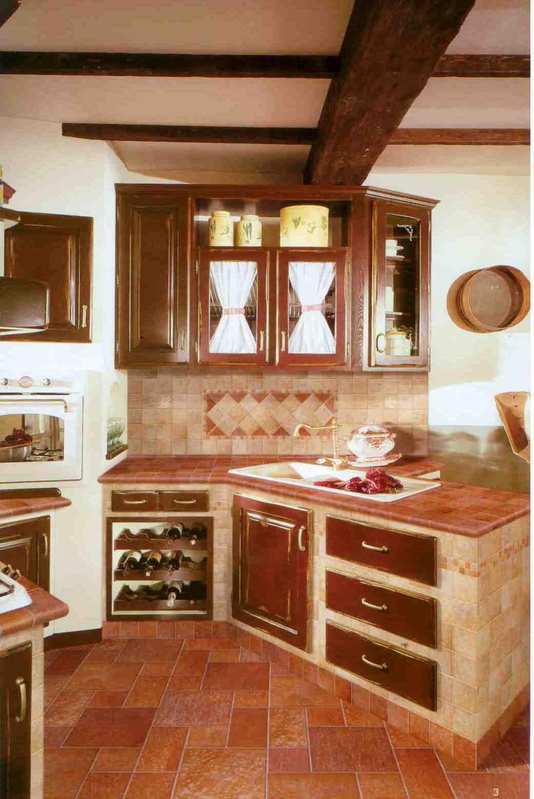 Baldosas para cocinas modelo de cocina en u mediterrnea for Pisos rusticos para cocina