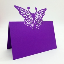 Art paper laser cut wedding supplies party favors seat name place cards with butterfly design