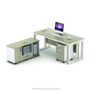 Modern Office Furniture L Shaped Melamine Wooden Manager Executive Desk