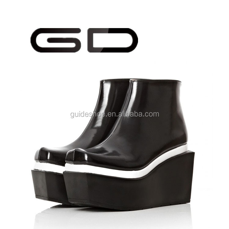 Fashion imported cow leather and Set foot wedge heels martin boots