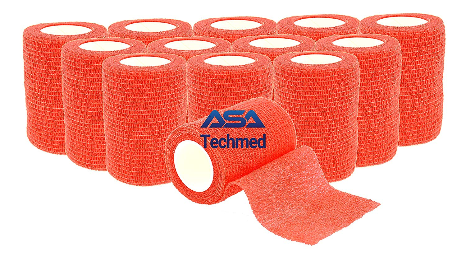 """12 - Pack, 3"""" x 5 Yards, Self-Adherent Cohesive Tape, Strong Sports Tape for Wrist, Ankle Sprains & Swelling, Self-Adhesive Bandage Rolls (Red)"""