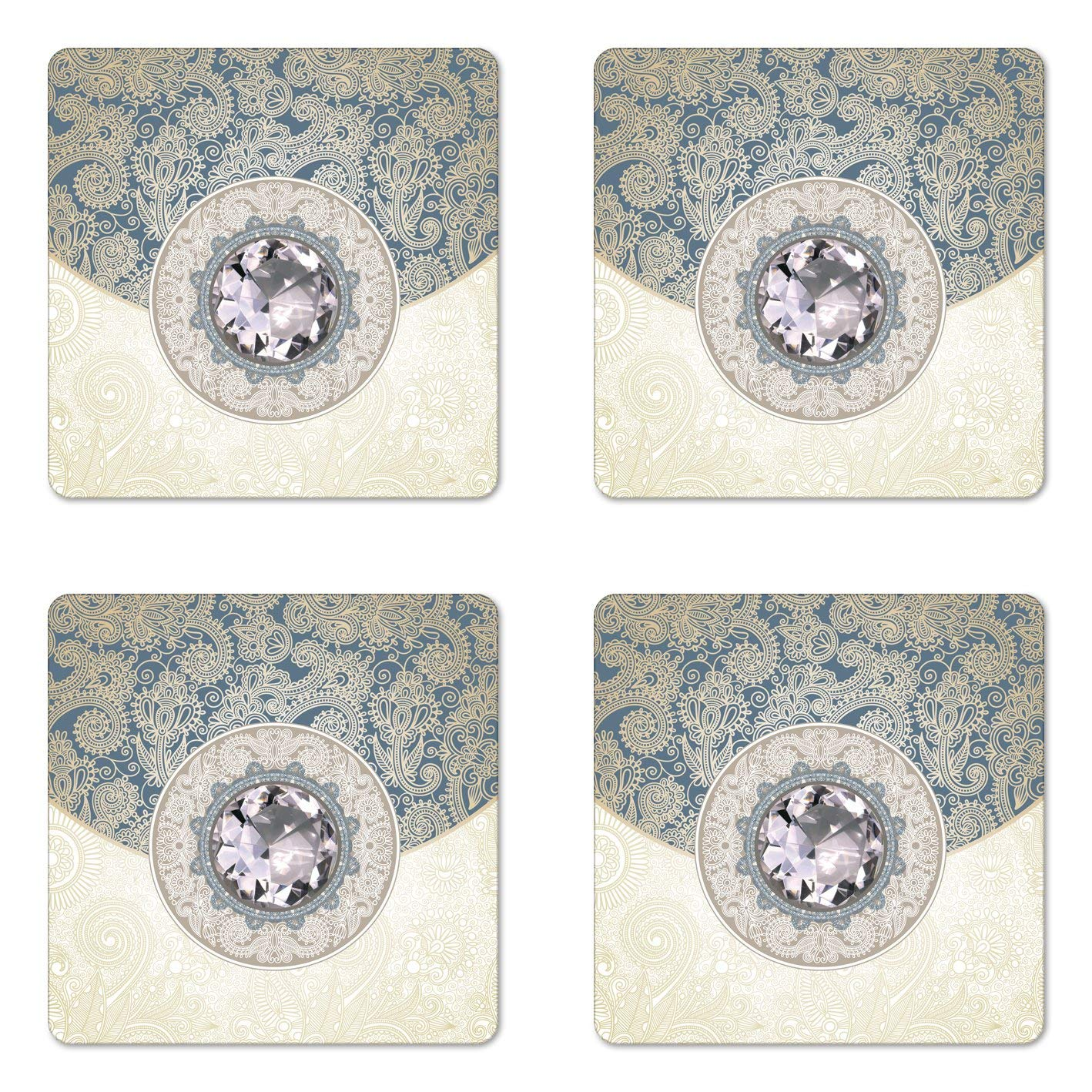 Lunarable Diamonds Coaster Set of Four, Oriental Floral Diamonds Background with Ornamental Swirling Branches Ethnic, Square Hardboard Gloss Coasters for Drinks, Pale Yellow Blue