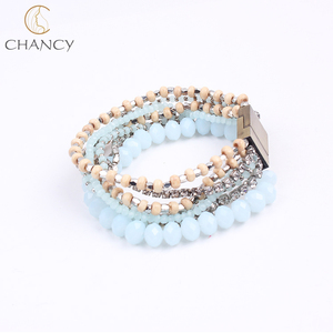 Top fashion design charm handmade jewelry crystal seed bead magnetic clasp bracelet for women