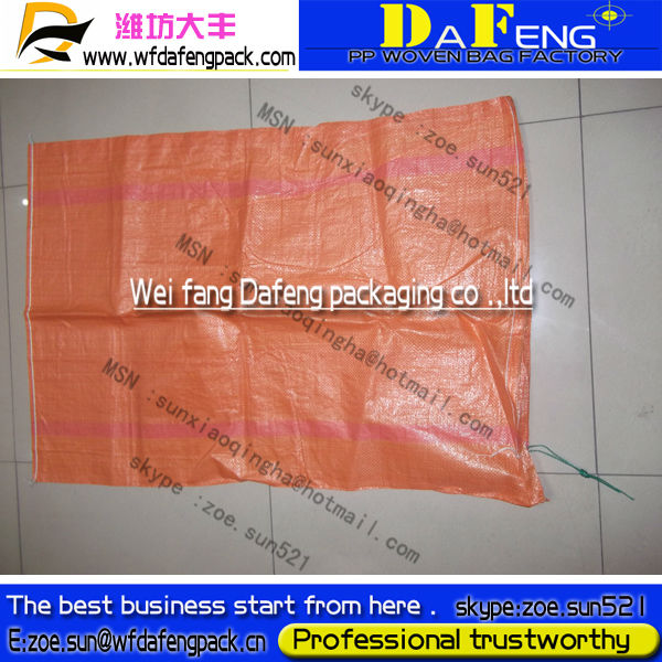 2013 NEW orange recycled polypropylene pp woven bag with string to South Korea market