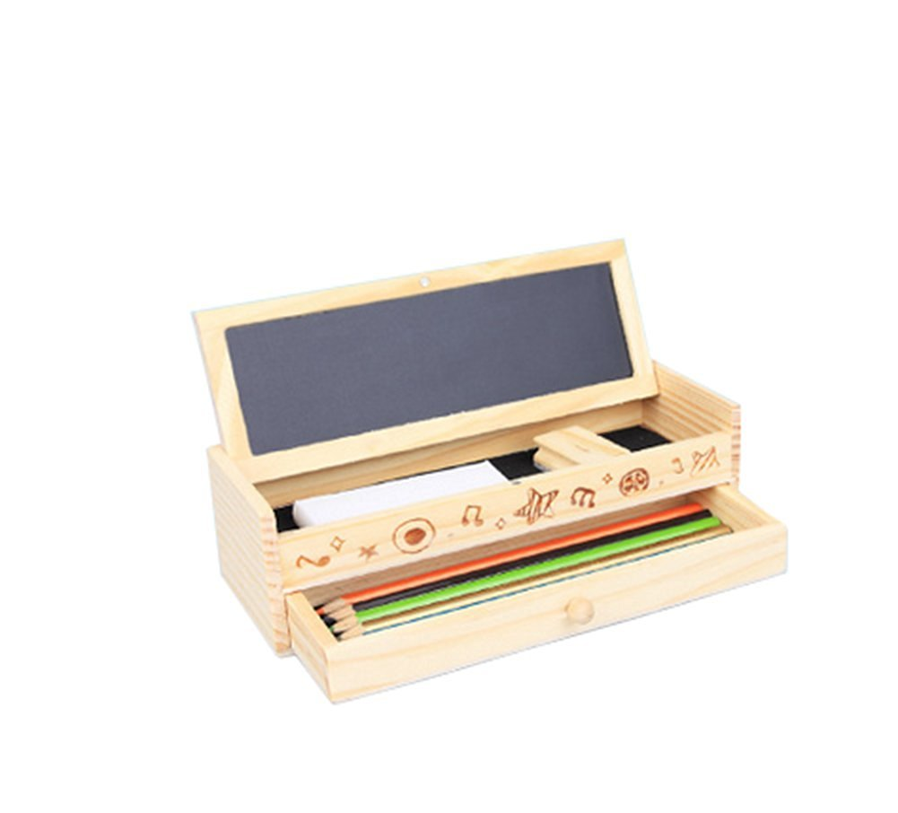 Hosaire 1 pcs Multifunctional wooden pencil box DIY creative stationery with drawer