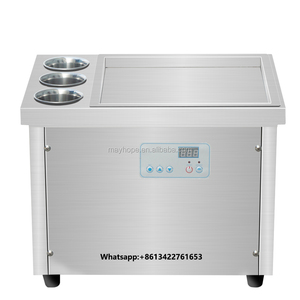 Single Round Pan Rolled Fried Ice Cream Machine/Flat Pan Ice Cream Fry Machine With 6 Cooling Storage