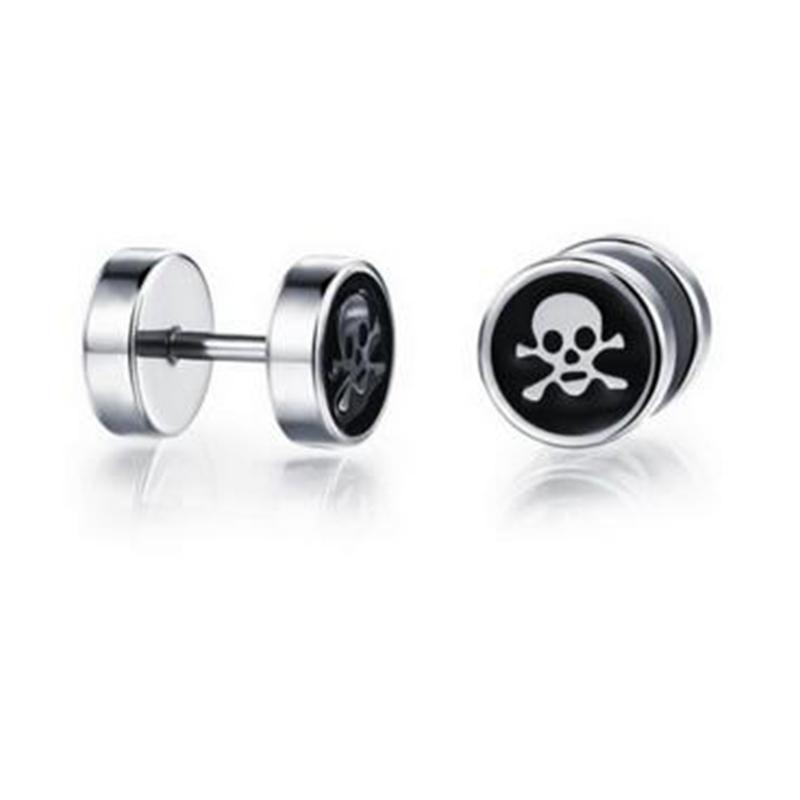 Fashion Jewelry Personal Design Cute Skull Biker Earrings 316l Stainless Steel Cool Men Boys