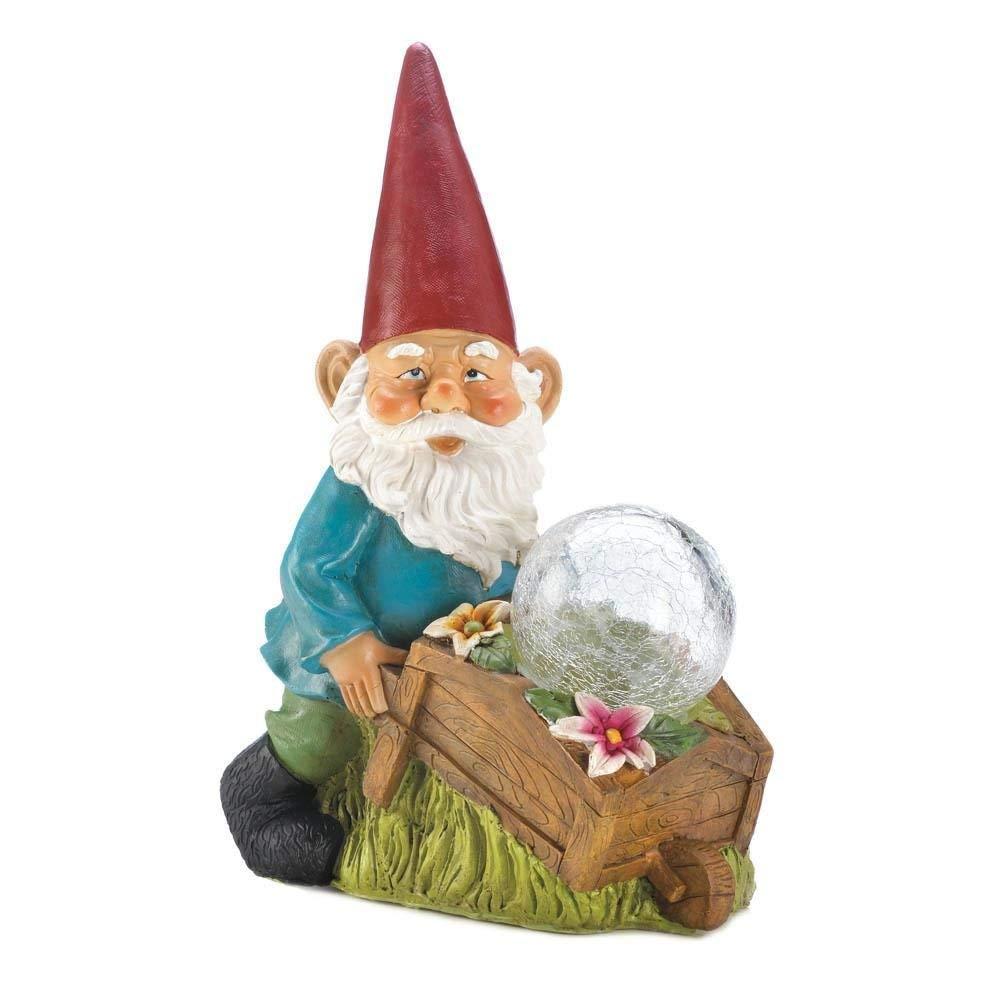 Summerfield Terrace Solar Figurines, Garden Patio Outdoor Lawn Gnomes Statues - With Wheel Barrow