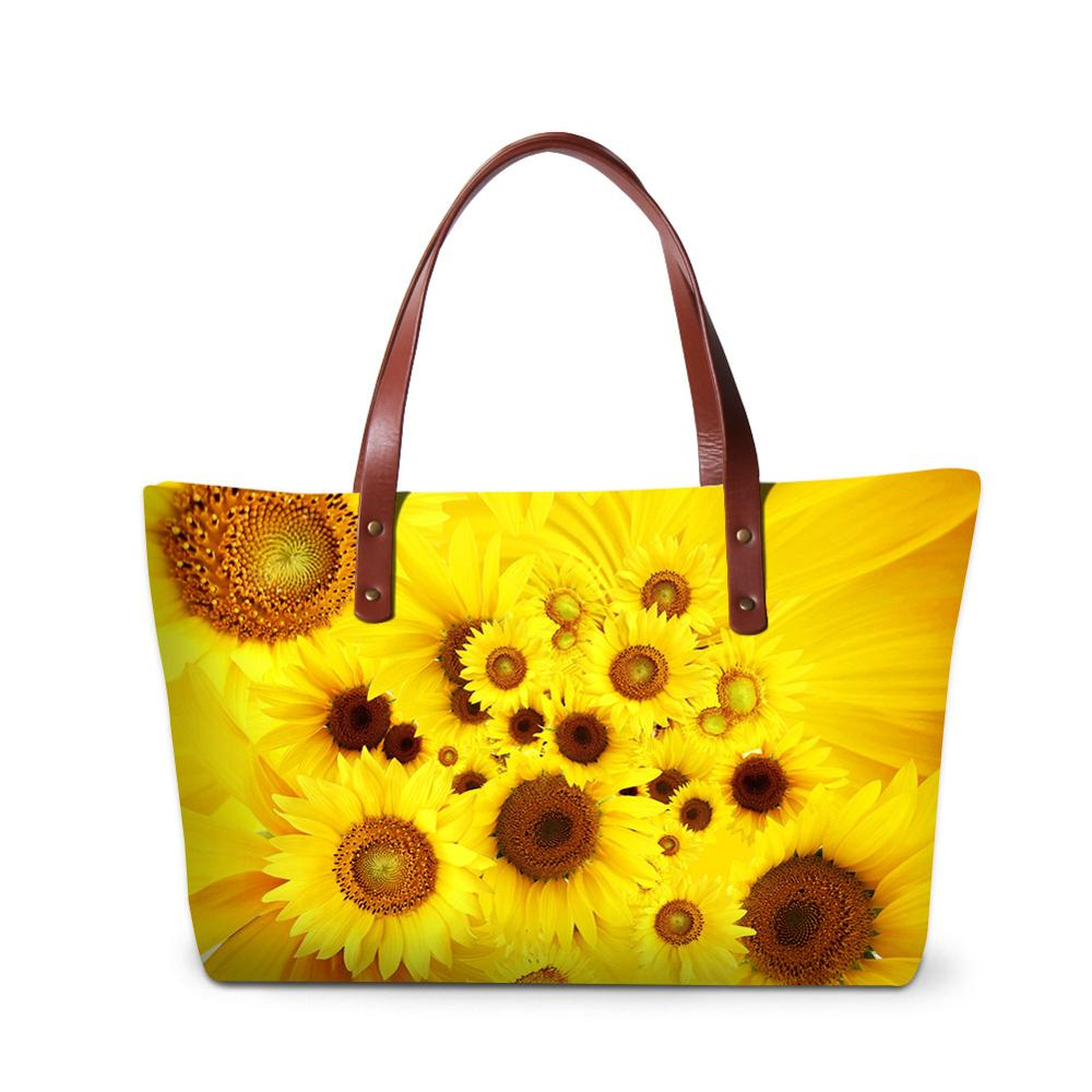 Wholesale 3D Sun Flower Picture Printing Beach Bag Women Handbag For Gift