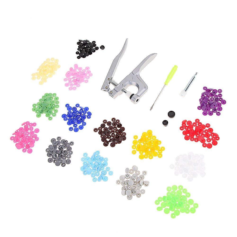 Metal Fastener Snap Pliers Button T3 T5 T8 Snap +150 T5 Plastic Resin Buttons Press Cloth Press Pliers Tools Set