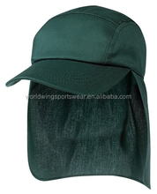 Polyester cotton wide flaps to protect the neck and ears from the sun ponytail back fastener bottle green legionnaire cap
