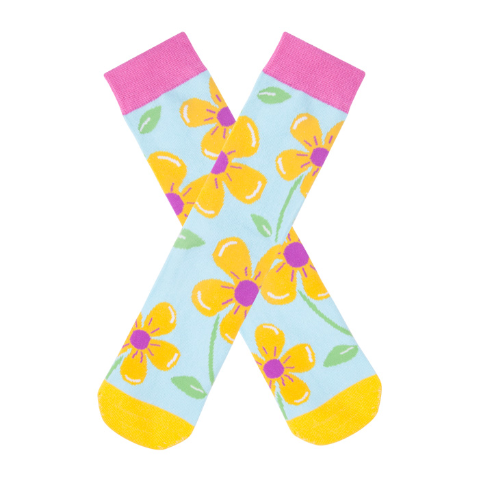 Womens Colorful Dress Crew Socks Flower Funky Patterned Casual Cotton Socks