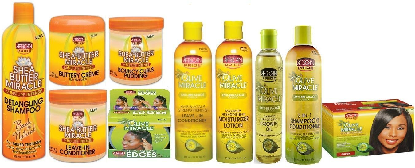 African Pride Olive Miracle and Shea Butter Miracle Jumbo Set (detangling shampoo, shea butter creme, shea butter leave in conditioner, shea butter pudding, edge gel, shampoo conditioner, growth oil, moisturizer lotion, and olive oil leave in conditioner, and choice of Regular or Super Relaxer)