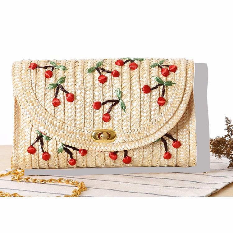 7fc747e5ac fashion women leisure new ladies straw clutch bag with cherry pattern gold  chain cross body straw