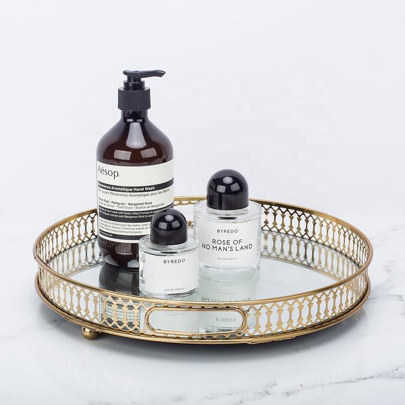 Dekoratif altın servis antika bakır metal yuvarlak cam ayna servis tepsisi parfüm makyaj kozmetik tepsisi için düğün ev dekor