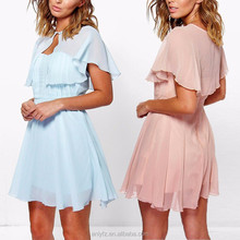 ANLY summer fashion chiffon prom dress with cape
