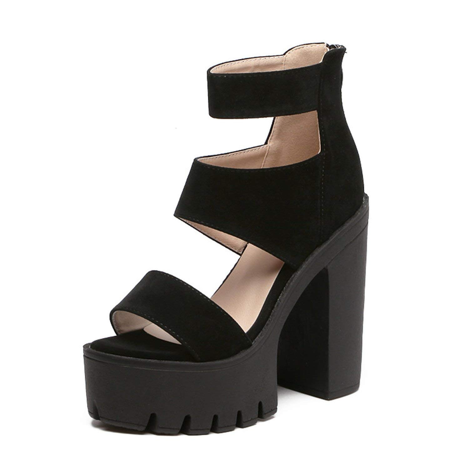 Romantic moments Women Sandals Fashion Summer Gladiator Casual Cut-Outs Open Toe Thick Heels 13cm Gladiator