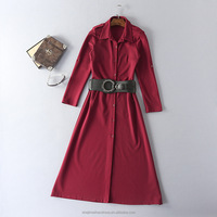 women roman simple belt ladies designers cotton dresses made in China
