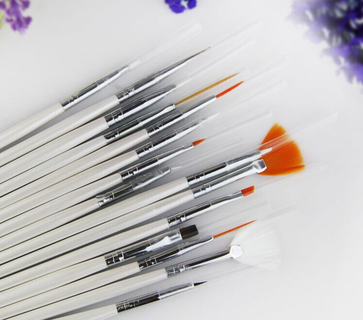 15 Pcs Nail Art Acrylic UV Gel Brush Set Painting Pen Tips Tools Kit