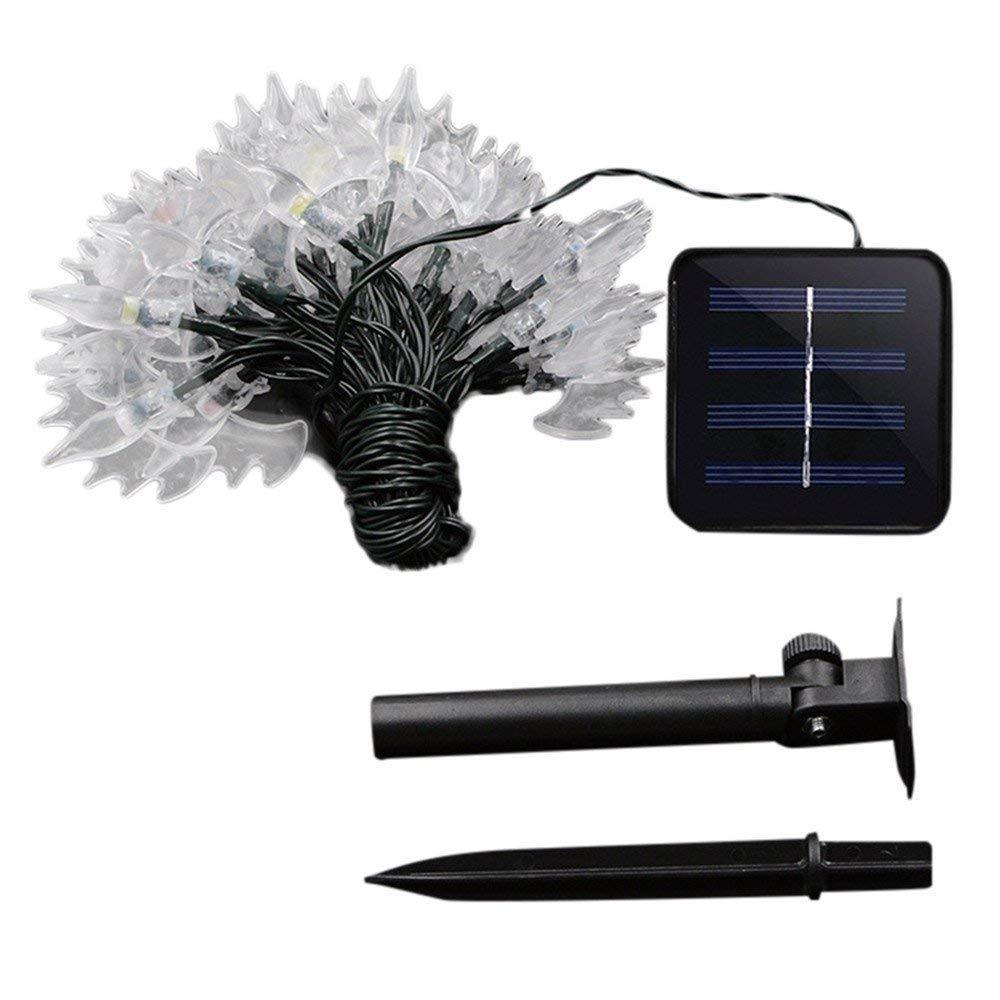 Yezike Solar LED Light Halloween Bats 30 Solar LED Light Outdoors Waterproof Festive Hanging Decor for Halloween Garden Indoors (multicolor)