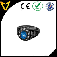 Black men ring, custome stainless steel high school champion ring,heavy band with one stone inlay high school champion ring