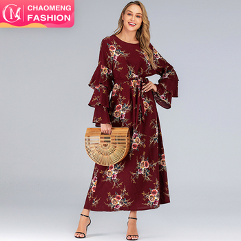 9071# Casual Muslim Big Women Dress Long Sleeve Plus Size Chiffon Islamic Arab Maxi Dresses